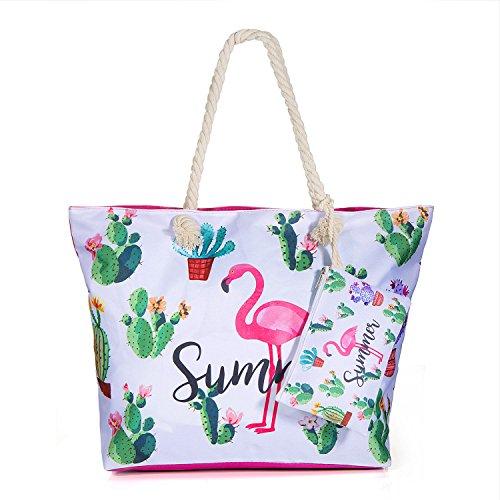 Diealles Bolsa de Playa de Lona Mujer Grande, Bolsa de Playa Grande con Cremallera para Mujeres y Niñas (Style 8)