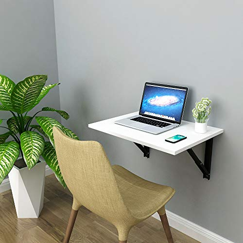Athena F60 Wall Mounted Folding Study/Computer/Laptop Table, Work Desk for Home Office, Size: 60cm x 45cm *Made in India*Frosty White