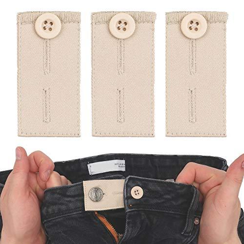 Bequeme Hosen Erweiterung, 3 Pack, in beige, für Anzughosen und Stoffhosen, verlängert Hosenbund bis 5 cm, aus Baumwolle, Hosenbund Verlängerung, Hosen Bundverlängerung, Hosenbund Erweiterung