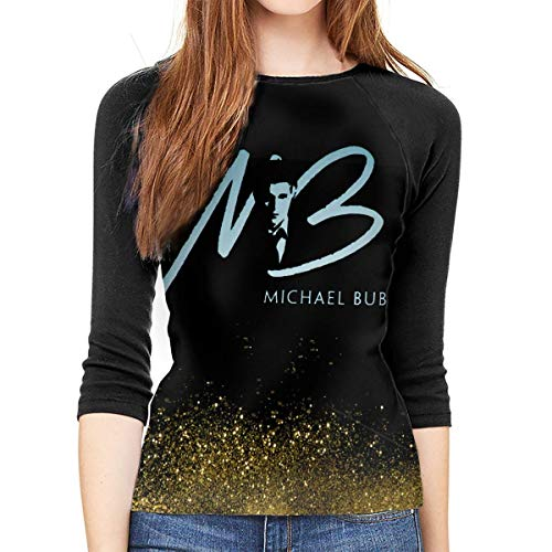 Henrnt Michael Buble Shirt Teen Girl Damen Raglan Bluse 3/4 Arm T-Shirt Bluse Top Round Neck T-Shirt Baseball Shirt