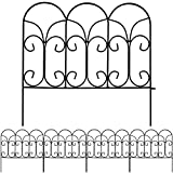 Amagabeli Decorative Garden Fence 18in x 7.5ft Coated Metal Outdoor Rustproof Landscape Wrought Iron Wire Border Fencing Folding Patio Fencing Flower Barrier Section Panel Decor Picket Edge Black FC04