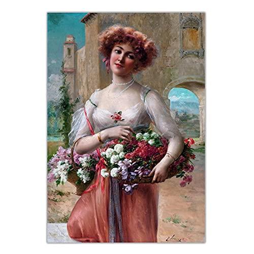 bdkym Emile Vernon, cesta de flores de rosa, pintura al óleo, encantadora belleza artística, póster moderno, decoración de pared, decoración del hogar, 60 x 80 cm x 1 sin marco