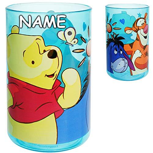 alles-meine.de GmbH 3 in 1 - Trinkbecher / Zahnputzbecher / Malbecher - Becher - Disney - Winnie Pooh - inkl. Name - 250 ml - BPA frei - Trinkglas - Kunststoff Plastik - transpar..
