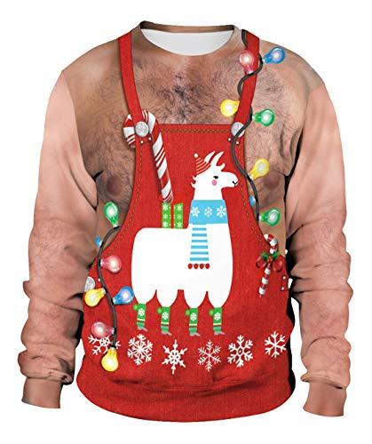 Fashspo Teen Boys Ugly Christmas Sweaters Best Gift Long Sleeve 3D Print Alpaca Sweatshirt for Men Women, Medium