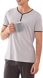 qianqianq Mens Striped Henry Lounge Shorts-&-Shirt Cotton Short-Sleeve Summer Sleepwears Pajama Set