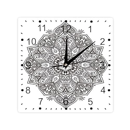 Psicodélico Elemento Circular Arte Lotus Tema Color Cuadrado Morden Reloj Slient