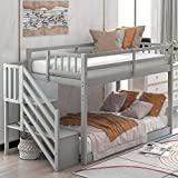 SOFTSEA Twin Over Twin Bunk Bed with Stairs and Storages for Kids Teens, Solid Wood Low Bunk Beds No Box Spring Required (Gray)