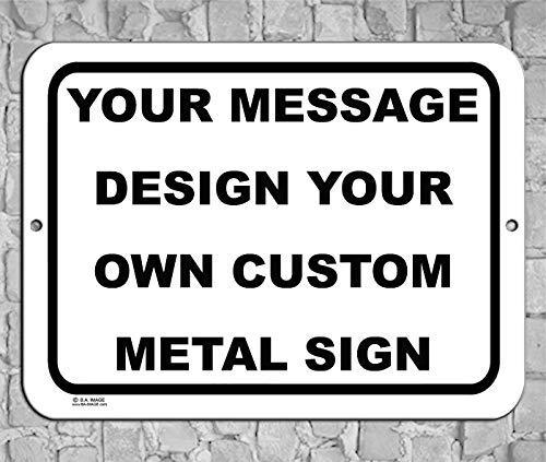 BA IMAGE Personalized Custom White 007 Aluminum Metal Sign with Your Name! (9x12 White w/Black, Horizontal)