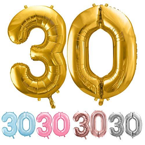 balloonfantasy Partyboutique Balloon Fantasy Zahlen Luftballon Set XXL / Luftballons Geburtstag / Ballon Zahlen (Gold, 30)