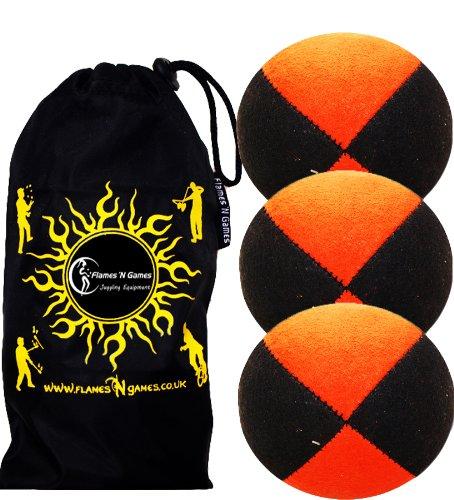 3X Balles de Jonglage Thud en Cuir suède Super Durable (Suede) 3X Pro Jonglerie Beanbag Jonglage Balles + Sac de Voyage. (Noir/Orange)