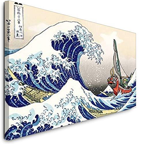 Cuadro de lienzo La leyenda de Zelda Windwaker The Great Wave Art Canvas Poster Pintura al óleo Cuadro de la pared Impresión del hogar Dormitorio Decoración de obras de arte Marco-estilo1 30 x 45 cm