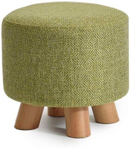 Stool Personlighet massivt trä sofftyg låg toffel bänk moll mode (färg: Grön, storlek: Cirkel)