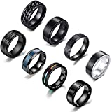MOZAKA 8PCS Stainless Steel Cool Fidget Band Chain Matte Stylish Spinner Rings Dragon Pattern Polished Grooved Rings for Men Women Jewelry Set Size 11