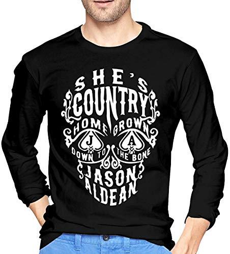 Jason Aldean T-Shirt a Maniche Lunghe da Uomo T-Shirt Fashion O Neck Top T-Shirt a Maniche Lunghe in Cotone Nero Piccolo