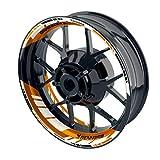 OneWheel Felgenaufkleber für Motorrad - Renngrib - passend für 17' Felgen/Vorder- und Hinterrad beidseitig | Zweiteiliger Aufkleber | Premium Felgenrandaufkleber - Design 3 - komplettes Set (orange)
