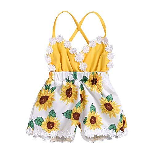FYMNSI Traje de girasol para bebé recién nacido y niño pequeño de verano de una sola pieza, mono de 1er cumpleaños para torta de la ropa sin espalda