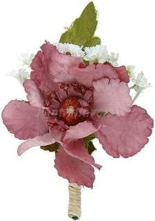 Groomsman Flower Brooch Groom Boutonniere Wedding Buttonhole Men/Women Corsage |Color - Cameo Brown|