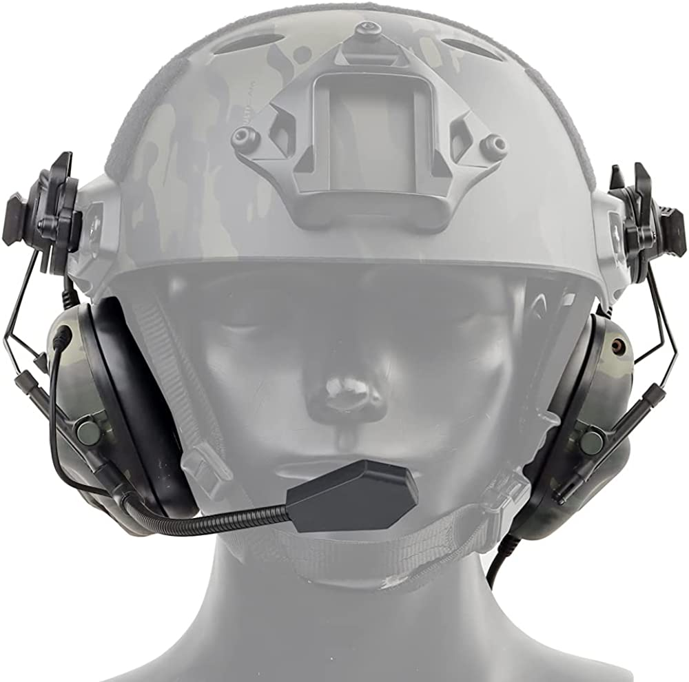 Outdoor Tactical Headset, Wearing Active Noise Reduction Safety Earmuff Hunting Headphone Radio Walkie with Microphone Airsoft Paintball Sound Pickup, Dedicated Helmet Earmuff