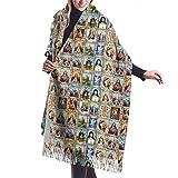 Catholic Saints Images Collage Outh Women Large Warm Cashmere Blanket Scarf Tassel Pashmina Shawl Wrap