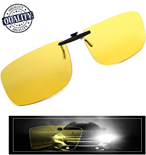 AHT Night Vision Glasses Clip-on, Yellow Anti-glare HD Vision, Foggy/ Rainy Days for Safety Driving/Fishing Eyewear, Super Light Lenses for Men/ Women