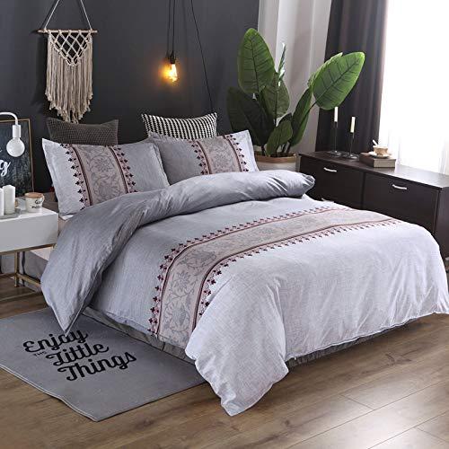 QIAOJIN Juego de ropa de cama vintage Ethno, bohemio, microfibra con estampado de flores, funda nórdica y funda de almohada, rojo, azul, marrón, gris y lila, con cremallera (f,150 x 200)