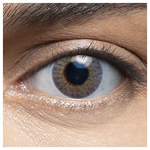 Sehr stark deckende und natürliche blaue Kontaktlinsen farbig CORAL GREY + Behälter von LENSART - 1 Paar (2 Stück) - DIA 14.00 - ohne Stärke 0.00 Dioptrien