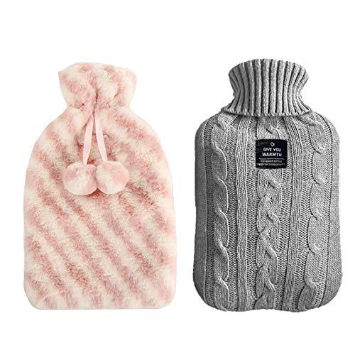 Copertura Borsa dell'Acqua Calda, fodera in pelliccia da 2 litri per borsa dell'acqua calda e morbida fodera lavorata a maglia per borsa dell'acqua rosa e grigio (NON CONTIENE CALDO BOTTIGLIA D'ACQUA)