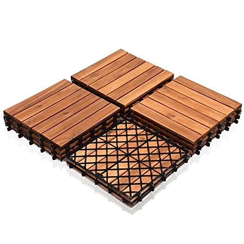 SONUG Baldosas de madera en acacia, Set de 22 Decking Tiles Interiores y Exteriores, Entrelazadas, suelo con estructura de drenaje, para Patio Balcón Terraza Jardín(Model B | 2m²)