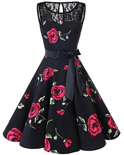 Bbonlinedress Women's 1950s Vintage Rockabilly Swing Dress Lace Cocktail Prom Party Dress Black Red Brose XL