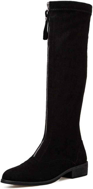 DANDANJIE damen Kniestiefel mit Fashion Zipper Flache Ferse Ritter Stiefel Block Heel High Stiefel für den Herbst Winter
