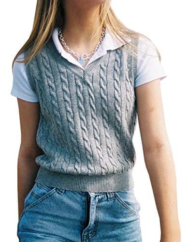 Meladyan Women's Vintage Sleeveless V Neck Sweater Vest Cable Knit Preppy Style Sweater Waistcoats Tops (Small, Gray)
