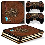 ZOOMHITSKINS PS4 Pro Console and Controller Skins, Old Book Treasure Pirate Knight Medieval Gold Pearl High Quality, Durable, Bubble-free, Goo-free, 1 Console Skin 2 Controller Skins, Made in USA