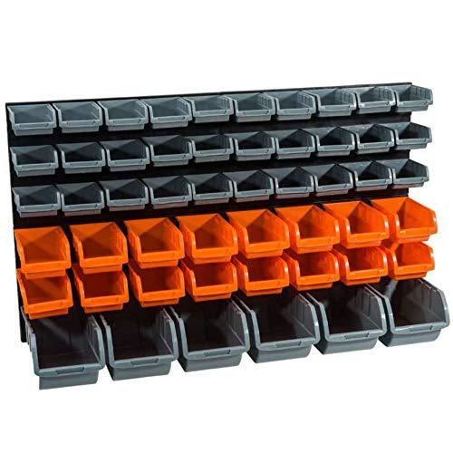 WerkaPro 10843 - Panneaux muraux avec Bacs à Bec - 2 Panneaux - 52 bacs -