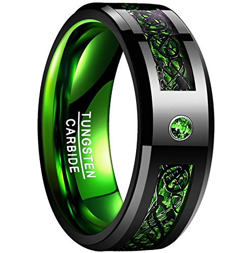 NUNCAD Male Ring Men's 8mm Tungsten Carbide Ring Black Celtic Dragon Green Carbon Fiber Wedding Band Size 13