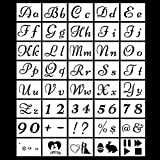 40 PCS Alphabet Letter Stencils, Reusable Plastic Number Templates Stencils Signs Calligraphy Font Upper and Lowercase Stencils for Art Drawing,Craft DIY Writing on Wood,Signage,Bistro