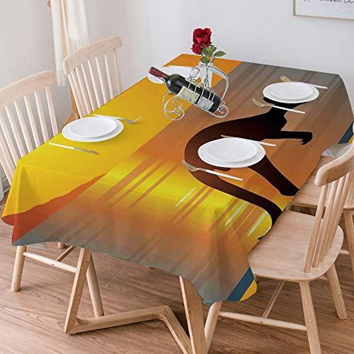 Wachstuch Tischdecke 140x200 cm,Tropische tiere, gegenstände mit wolken sonne und sonnenschirm orchi,Rechteckige Tischabdeckung Gartentischdecke für Gastronomie, Feste, Party, Hochzeiten oder Haushalt