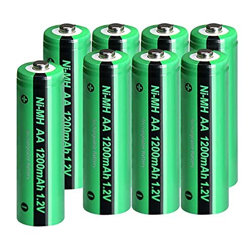Pkcell 8er-Pack AA-Batterien, 1200 mAh, wiederaufladbare NiMH-1,2-V-Batterien für Solarleuchte (Button Top)