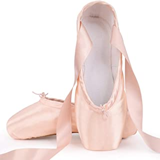 Girls Womens Ballet Pointe Shoes Pink Saitin Dance Shoes with Pre-Sewn Ribbons Toe Pads Protector(Please Choose ONE Size Larger)