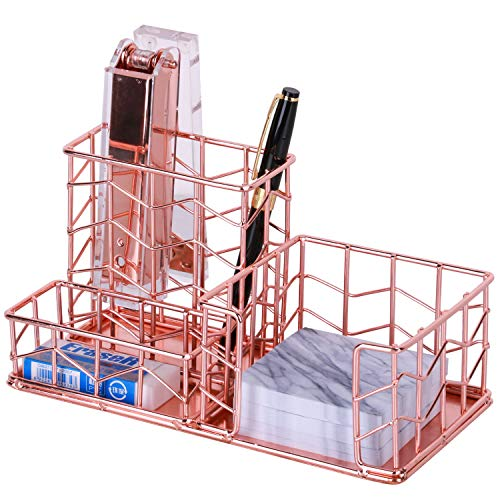 Nugorise Rose Gold Sticky Note Plus Pen Holder Metal Desk Organizer Accessories- Pen, Memo, Business Holder, Wire Supplies Organizer Storage for Home, Office and School