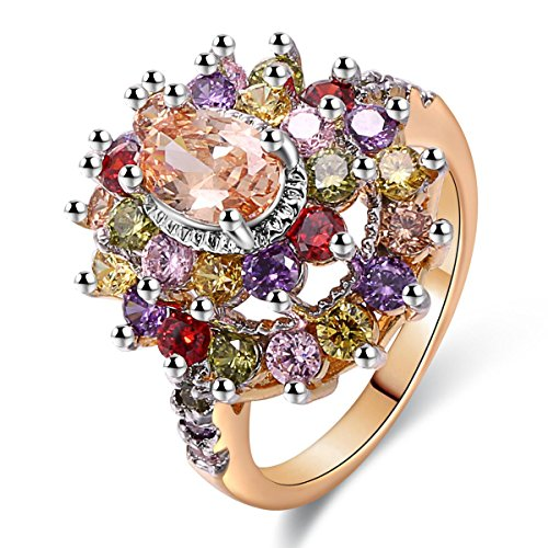 JIANGYUE Cubic Zirconia Multi Colored Stone Ring for Women $11.49 (50% Off with code)