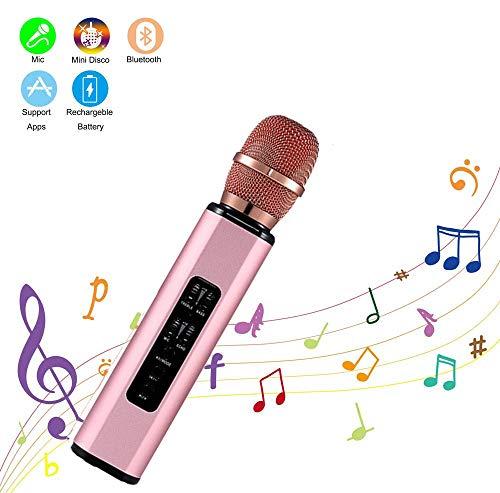 Micrófono Karaoke Bluetooth,Zeerkeer Microfono Inalámbrico Altavoces, Portátil Karaoke para Niños Cantar, Función de Eco Compatible con Android/iOS PC