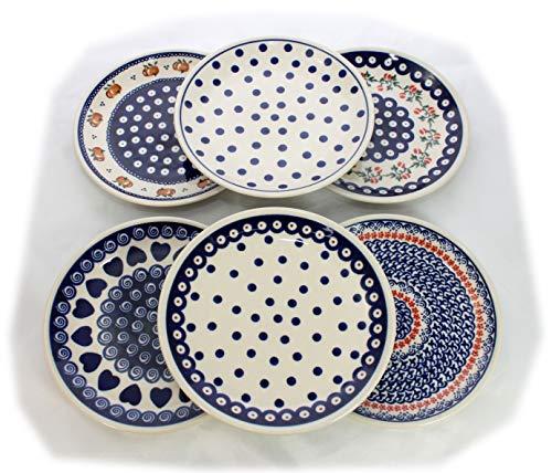 6 kleine Speiseteller in 6 verschiedenen Dekoren - Original Bunzlauer Keramik