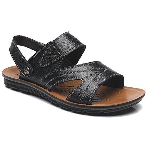 MERRYHE Große Größe Echtes Leder Schuhe Für Männer Strand Sandalen Open-Toed Slip On Hausschuhe Für Wandern Wandern,Black-45