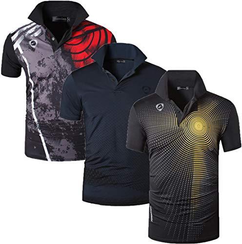 jeansian Men's 3 Packs Quick Dry Sport Polo T-Shirt LSL195 MixPackH XXL