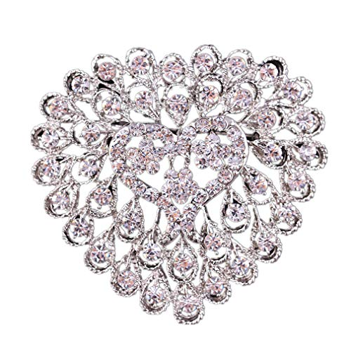 Fliyeong Mode Damen Strass Brosche Herzform Hochzeit Braut Strauß Brosche Kleid Kristall Boutonniere Brosche Clip Charm Schmuck von SamGreatWorld