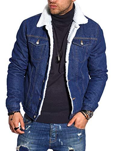 behype. Herren Jacke Gefüttert Übergangs-Jacke Trucker-Jacke Jeans-Jacke Cord-Jacke 1008 Blau (MJ-MIN) M