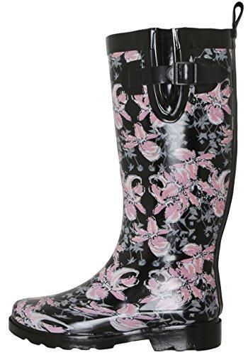 Capelli New York Ladies Shiny Edgy Floral Printed Mid-Calf Rain Boot Black Combo 6
