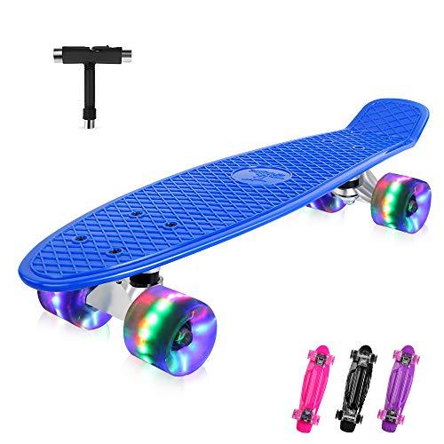 BELEEV Skateboard 22 Zoll Komplette Mini Cruiser Retro Skateboard für Kinder Jugendliche Erwachsene, LED Leuchtrollen mit All-in-One Skate T-Tool für Anfänger (Blau)