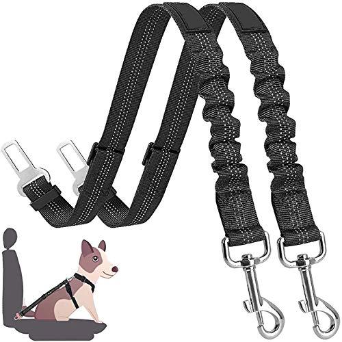 Cinturón de Seguridad de Coche para Perros, Cinturón Perro Coche con elástico y Fuerte mosquetón, Universal para trasportar Mascotas Más Duradero para Todas Las Razas Perros y Gatos, Negro 2pcs