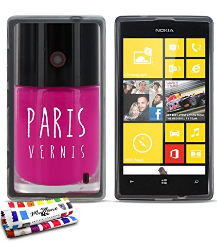Muzzano–Cover morbida ultra sottile Nokia Lumia 520al motivo esclusivo [Paris vernice rosa] [grigia] di MUZZANO + Pennino e Panno Muzzano offerti–La protezione antigraffio Ultime, protezione anti-urto elegante e duratura per il vostro Nokia Lumia 520